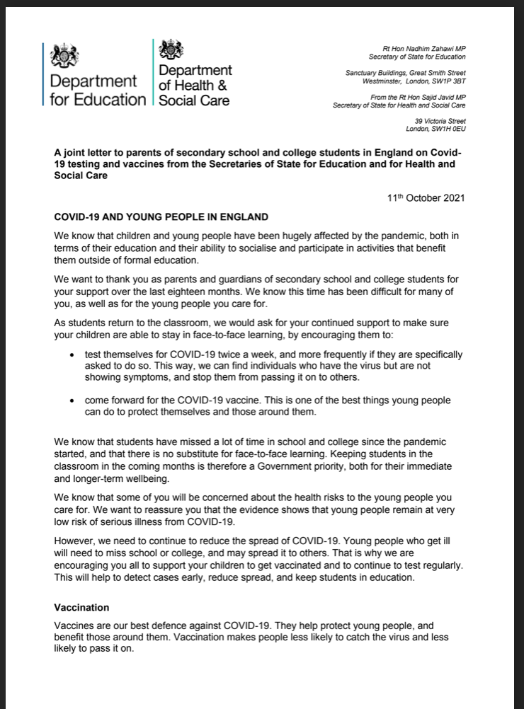 Covid & young people letter 1