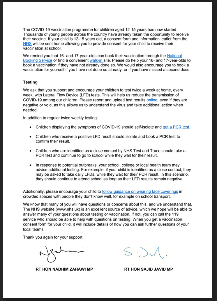 Covid & young people letter 2