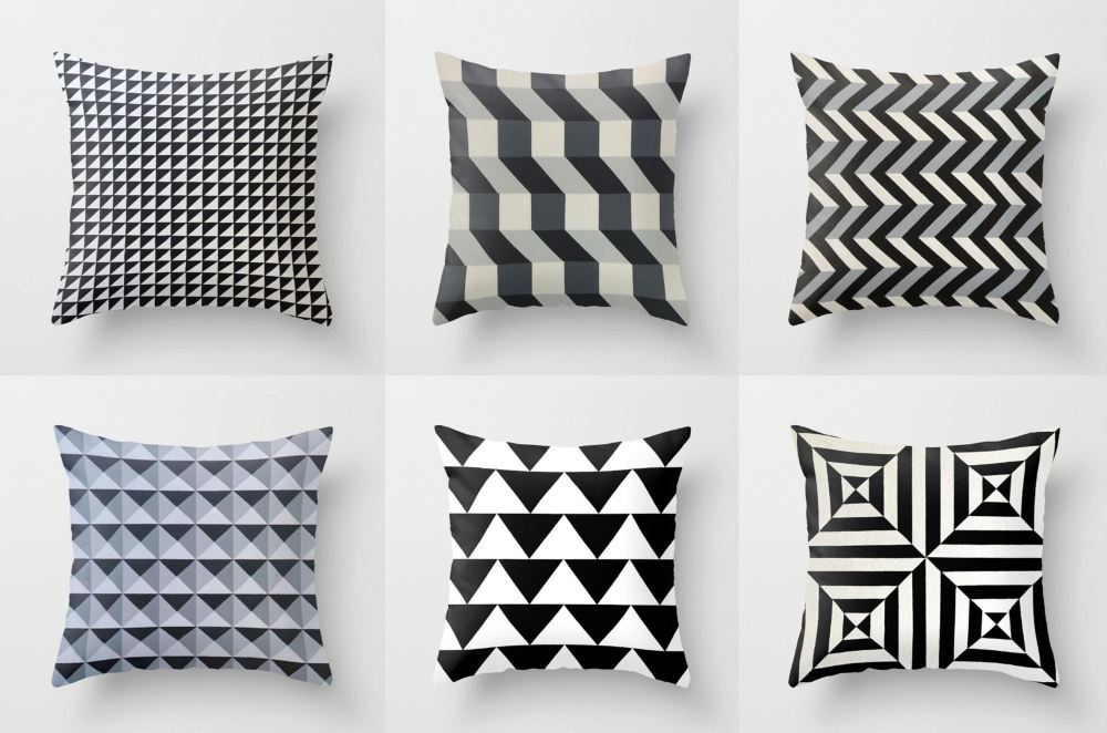 geometric art throw pillows by dominic joyce