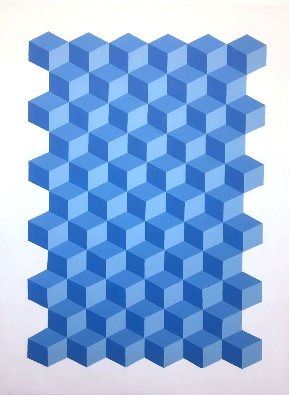 XL Blue Cube Geometric Framed Canvas Painting by Dominic Joyce 1