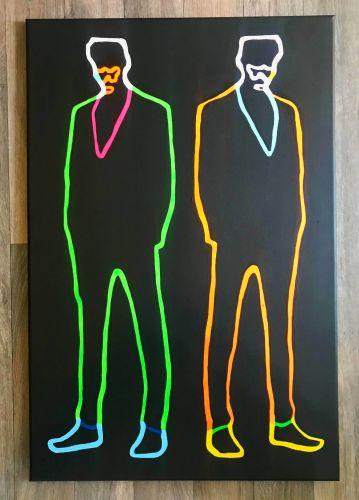 'Neon Duplex (Lights On Version)' Original Canvas Painting