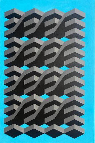 Original Geometric Canvas Painting by Dominic Joyce