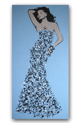 Ballgown Splash Model #02 by Dominic Joyce Original Canvas Painting SOLD