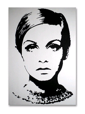 Twiggy - Original Pop Art Canvas Painting - By Dominic Joyce SOLD