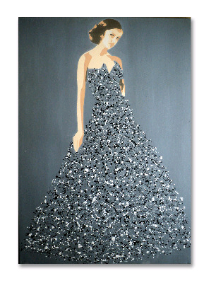 Ballgown Splash Model (Large) 02 by Dominic Joyce Original Canvas Painting