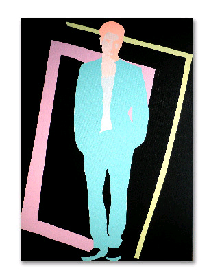 Original 80s Style Fashion Pop Art Canvas Painting by Dominic Joyce ''Florida Effect''
