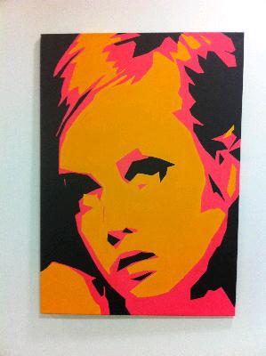 Twiggy - Original Pop Art Canvas Painting - By Dominic Joyce