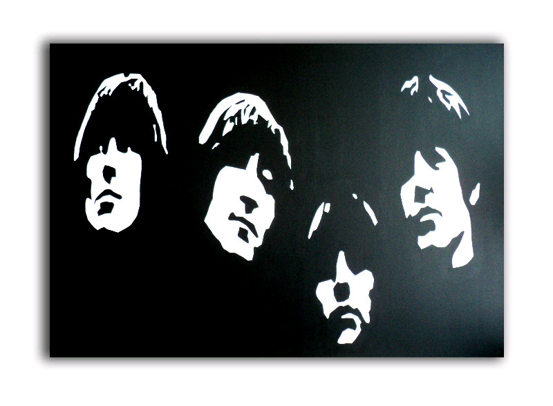 the beatles - pop art canvas painting - by dominic joyce 1