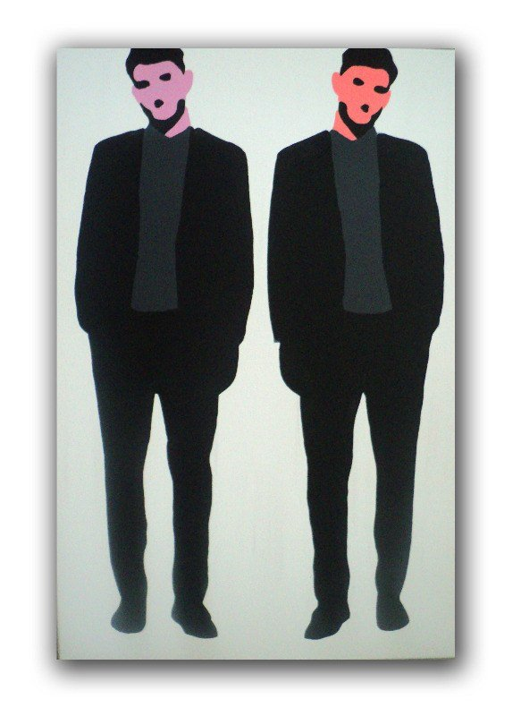 original pop art canvas painting by dominic joyce - twin bros - 1
