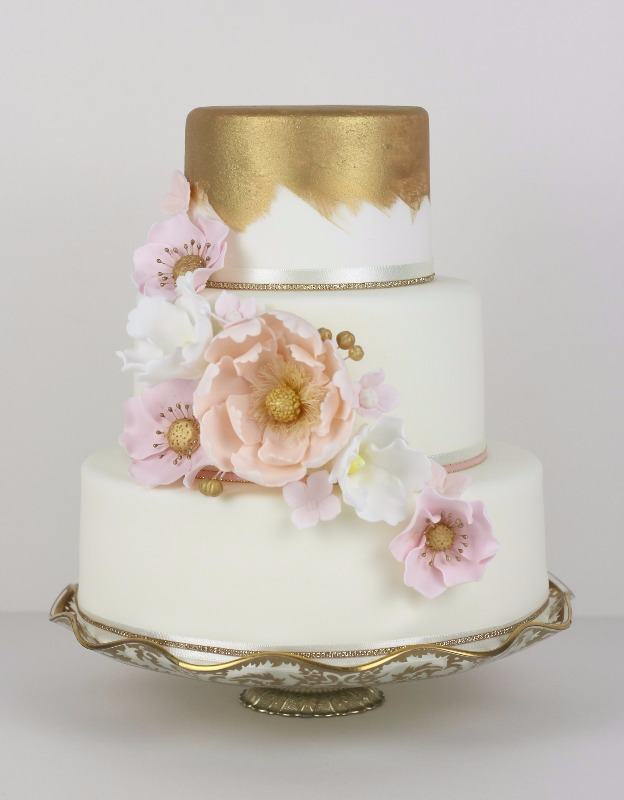 gold painted with cascading flowers