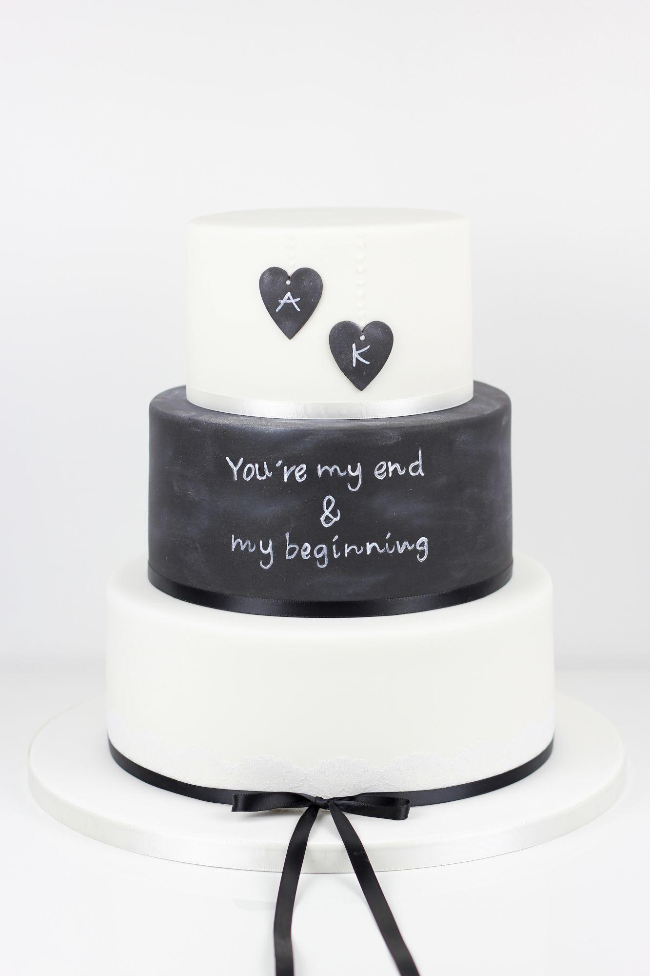 Chalk board wedding cake