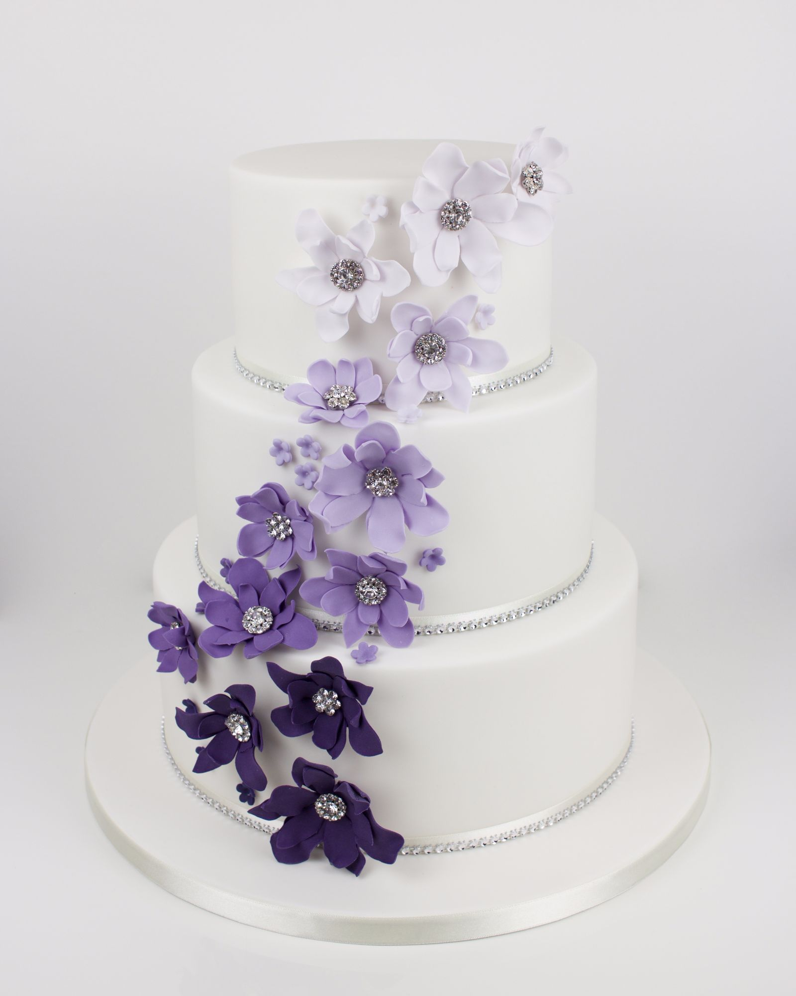 Ombre cascading flowers with diamante centres