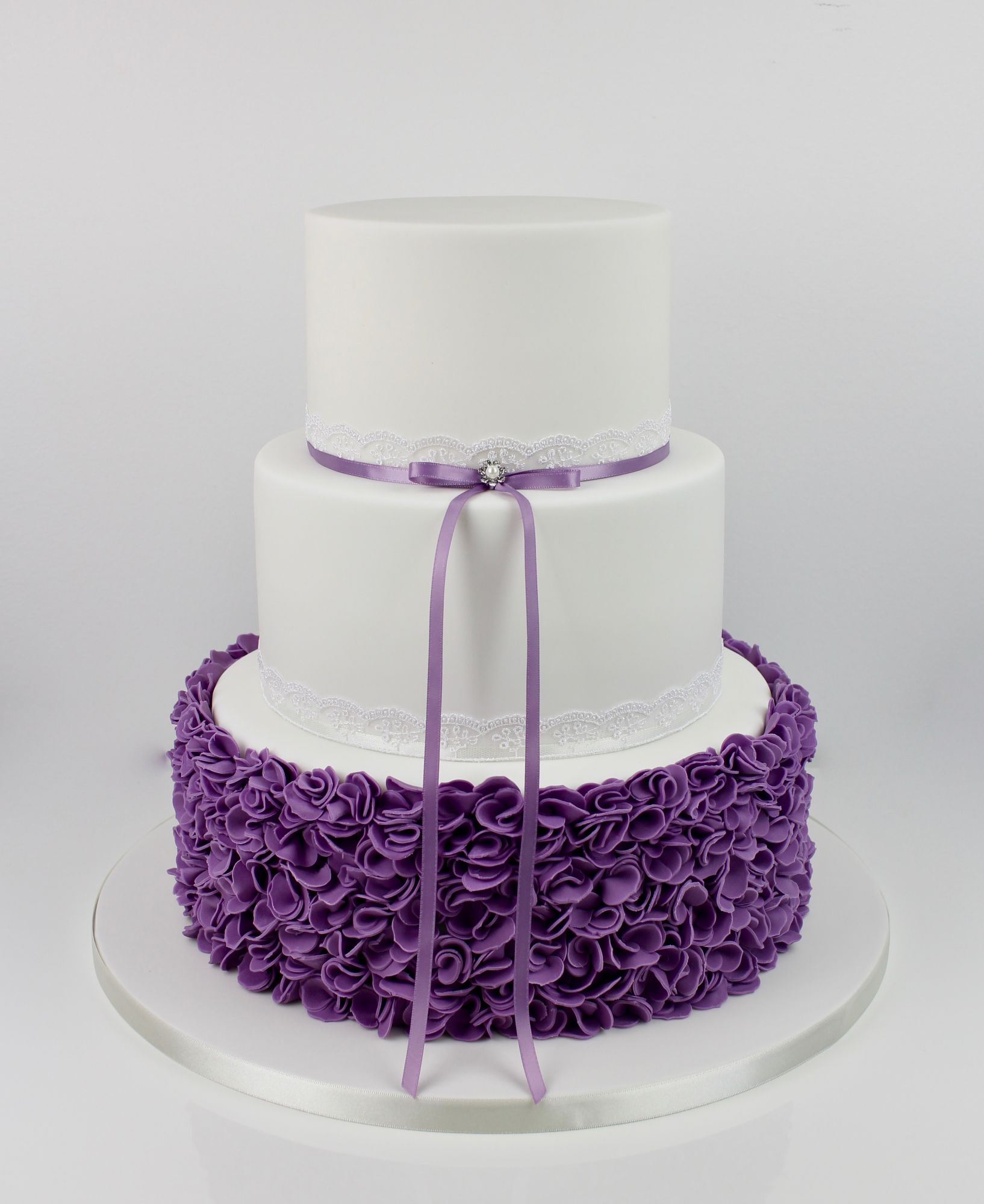Purple scrunched ruffles