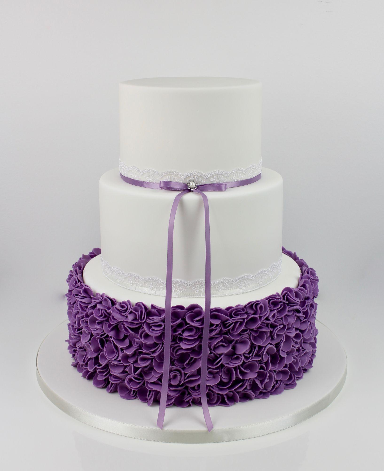 Purple scrunched icing ruffles