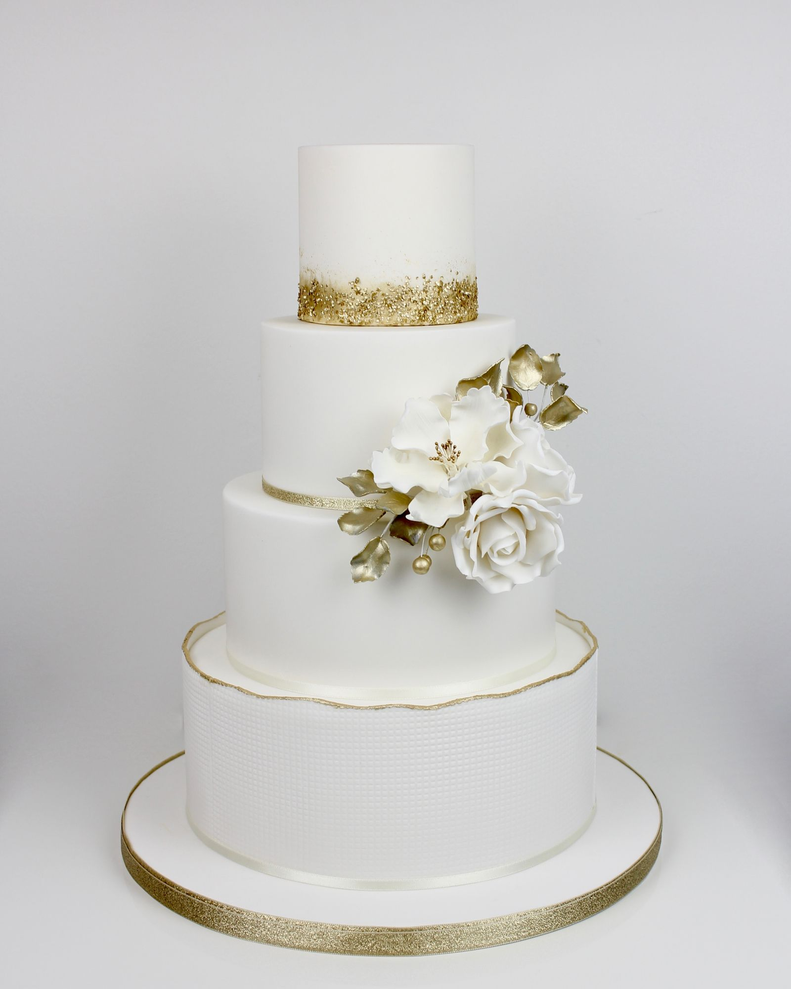 White & gold with glitter and painted band with white  flowers