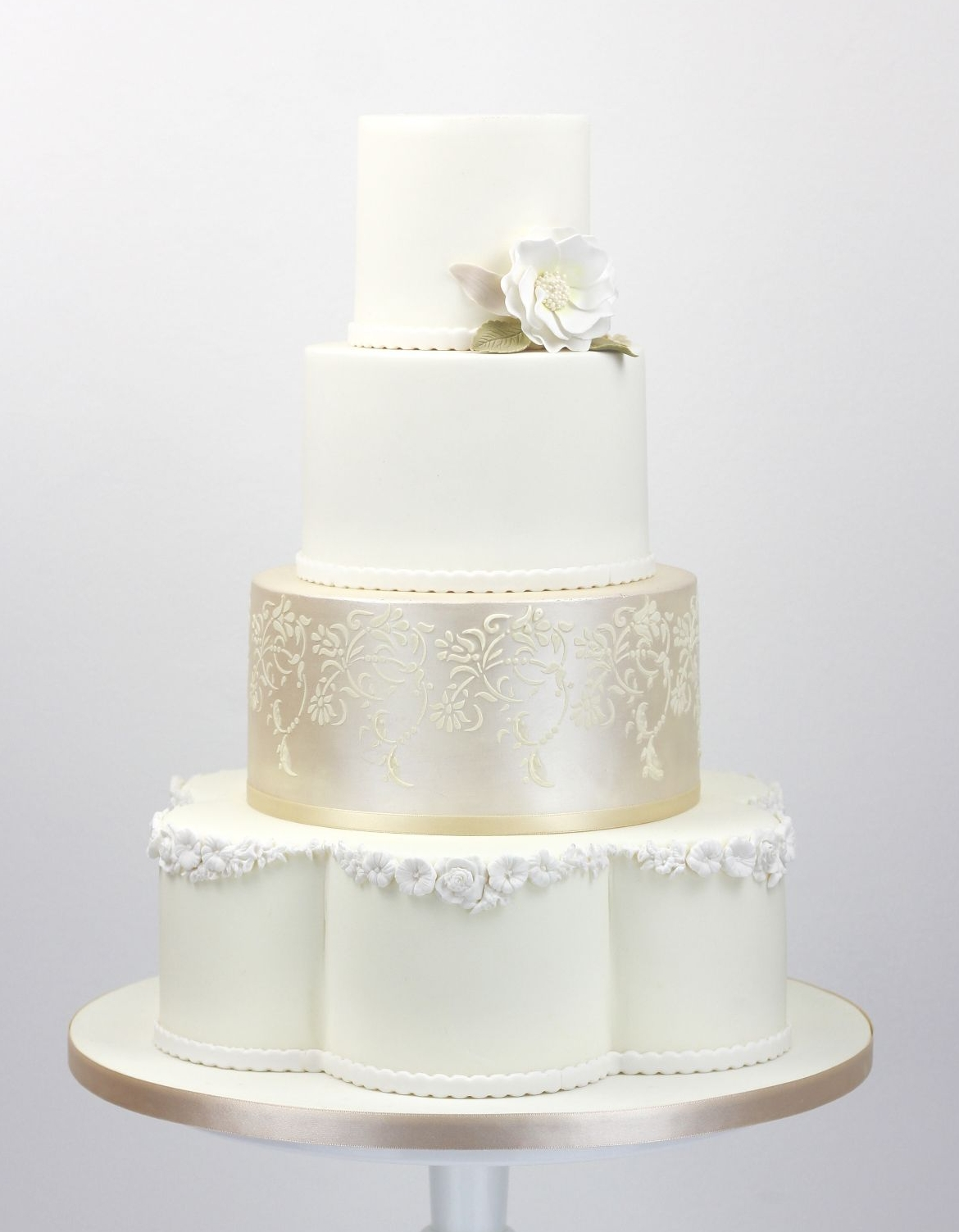 Petal shaped wedding cake with  champagne lustre