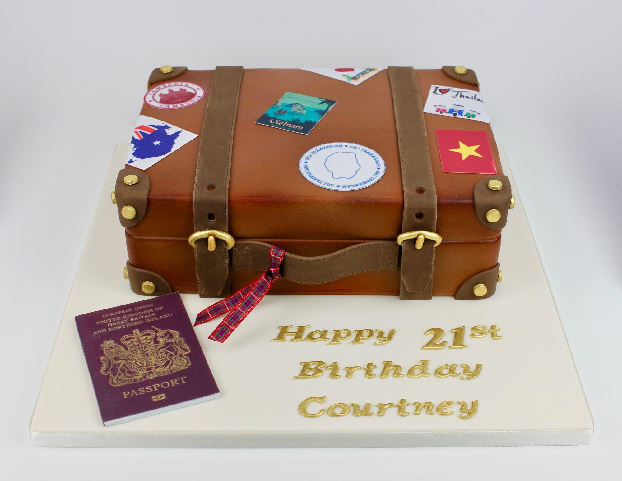 Travel suitcase themed cake
