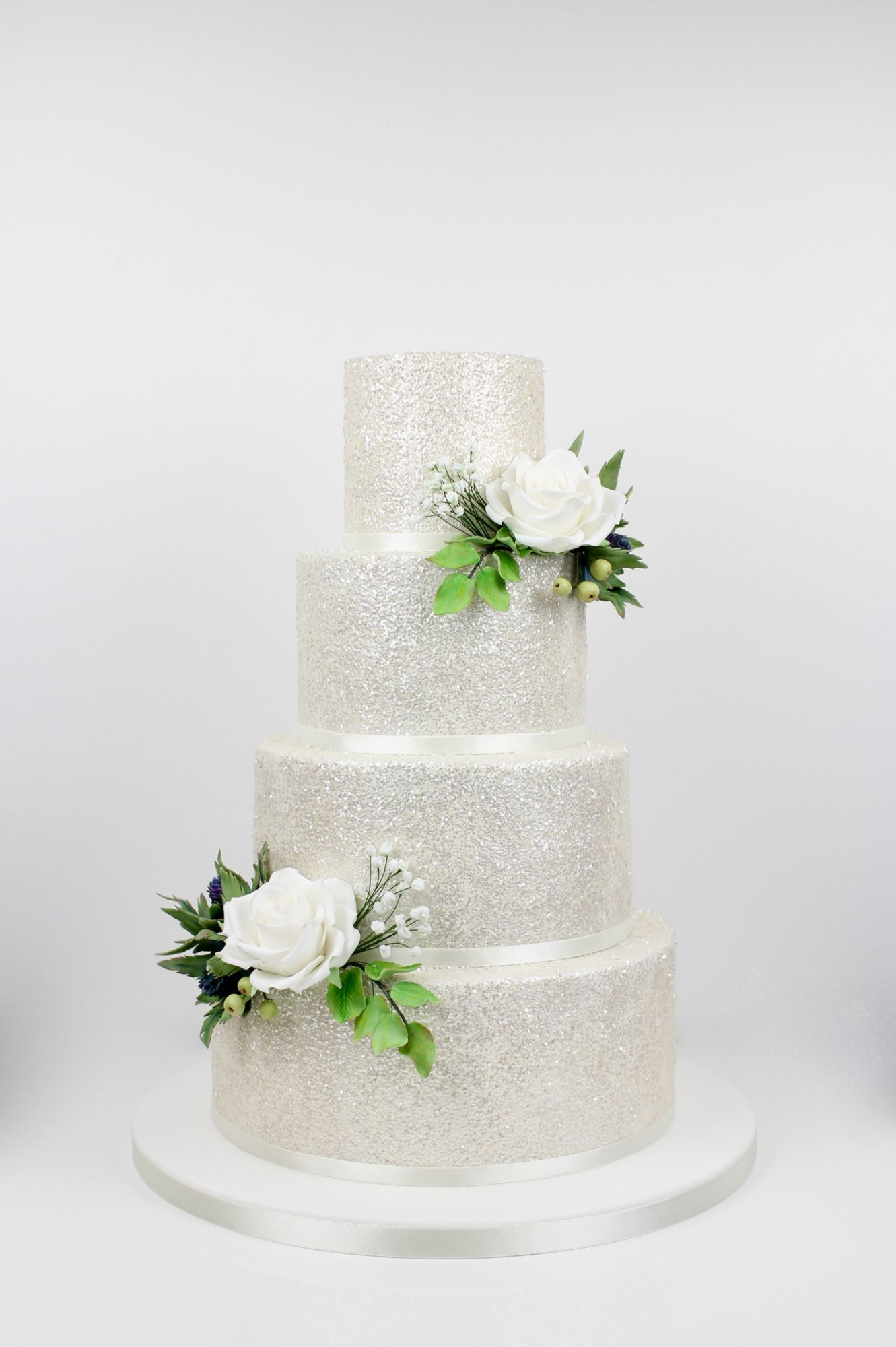 Luxury white glitter wedding cake