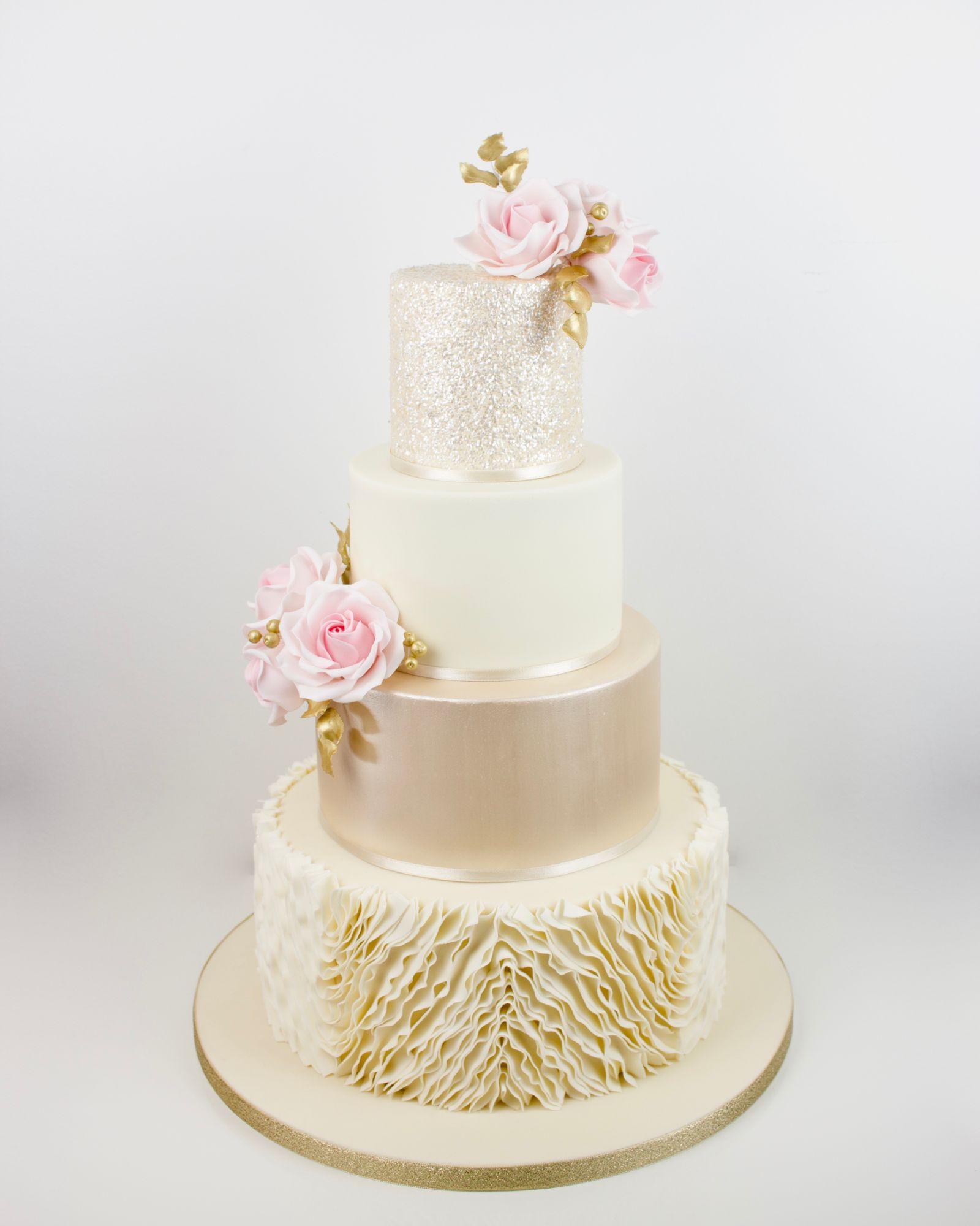 Modern, Ruffles, lustre, gillter  with sugar roses