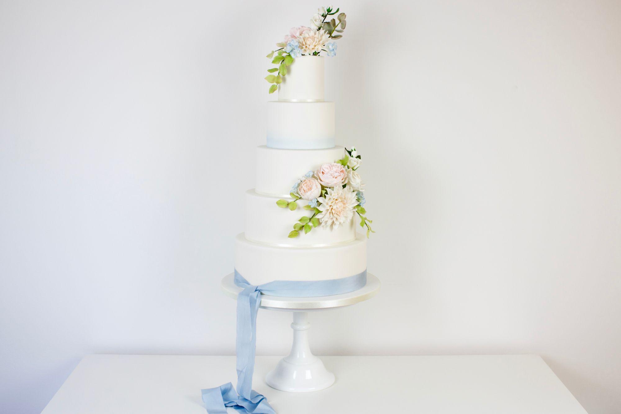 Sugar flowers, blue wedding cake