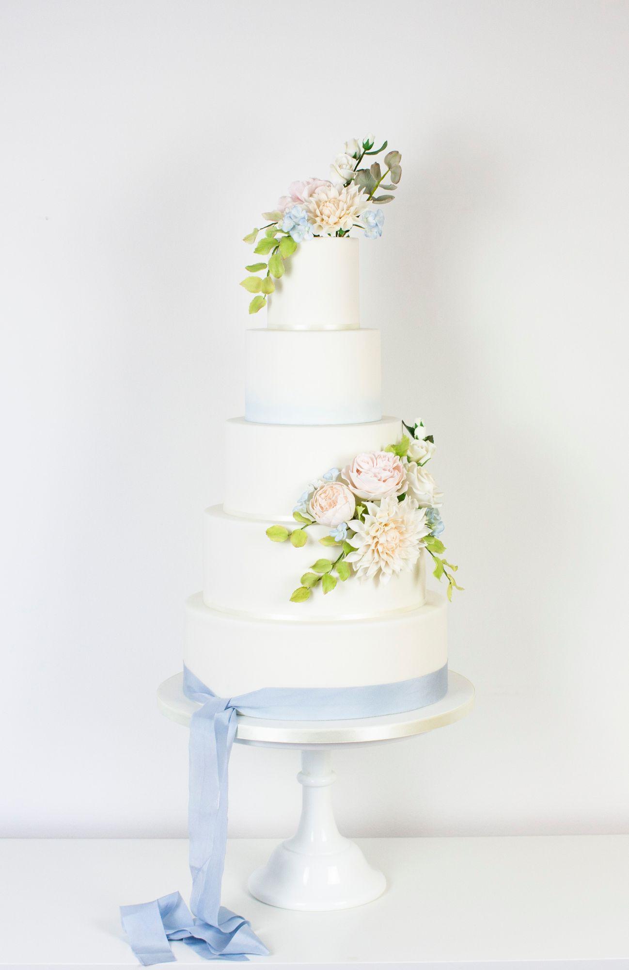 Blue & pink wedding cake
