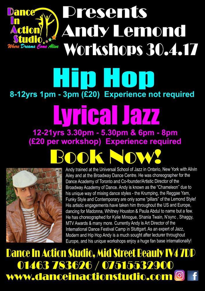 Andy Lemond Hip Hop & 2 Lyrical Jazz Workshops