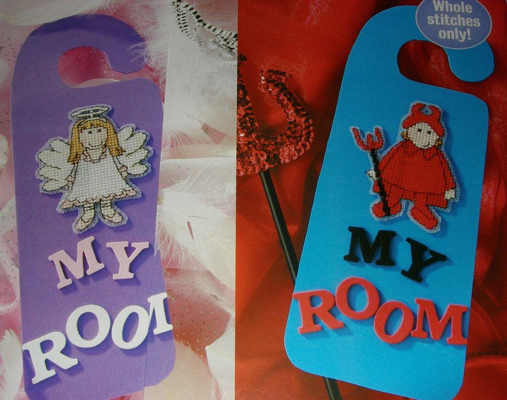 My Room: Boy & Girl Door Hangers ~ Cross Stitch Charts