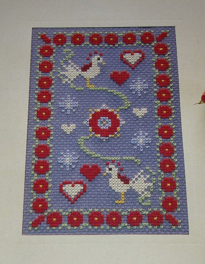 Folk Style Love Birds Card ~ Cross Stitch Chart