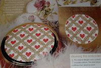 Red Hearts in Gold Lattice Card ~ Cross Stitch Chart