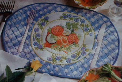 Plate of Salad Placemat ~ Hand Embroidery Pattern