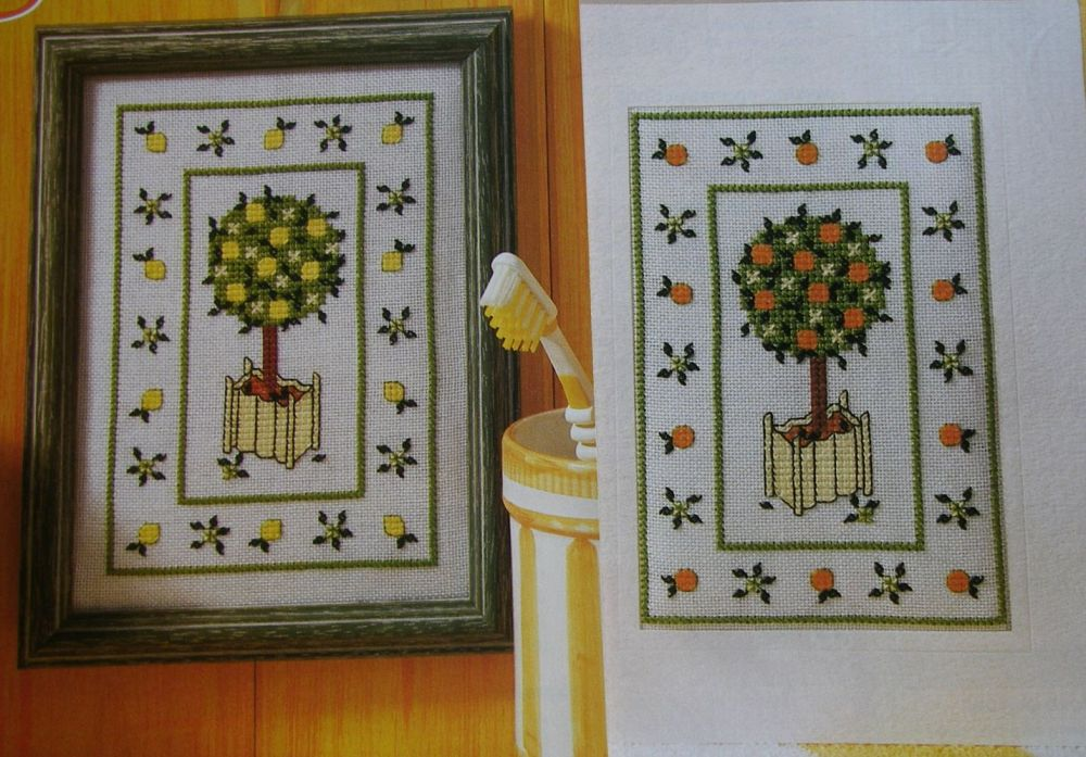Oranges & Lemons: Two Topiary Trees ~ Cross Stitch Charts