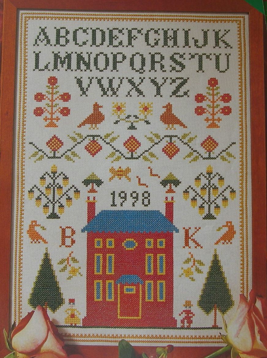 Traditional Sampler with House, Alphabet & Motifs ~ Cross Stitch Chart