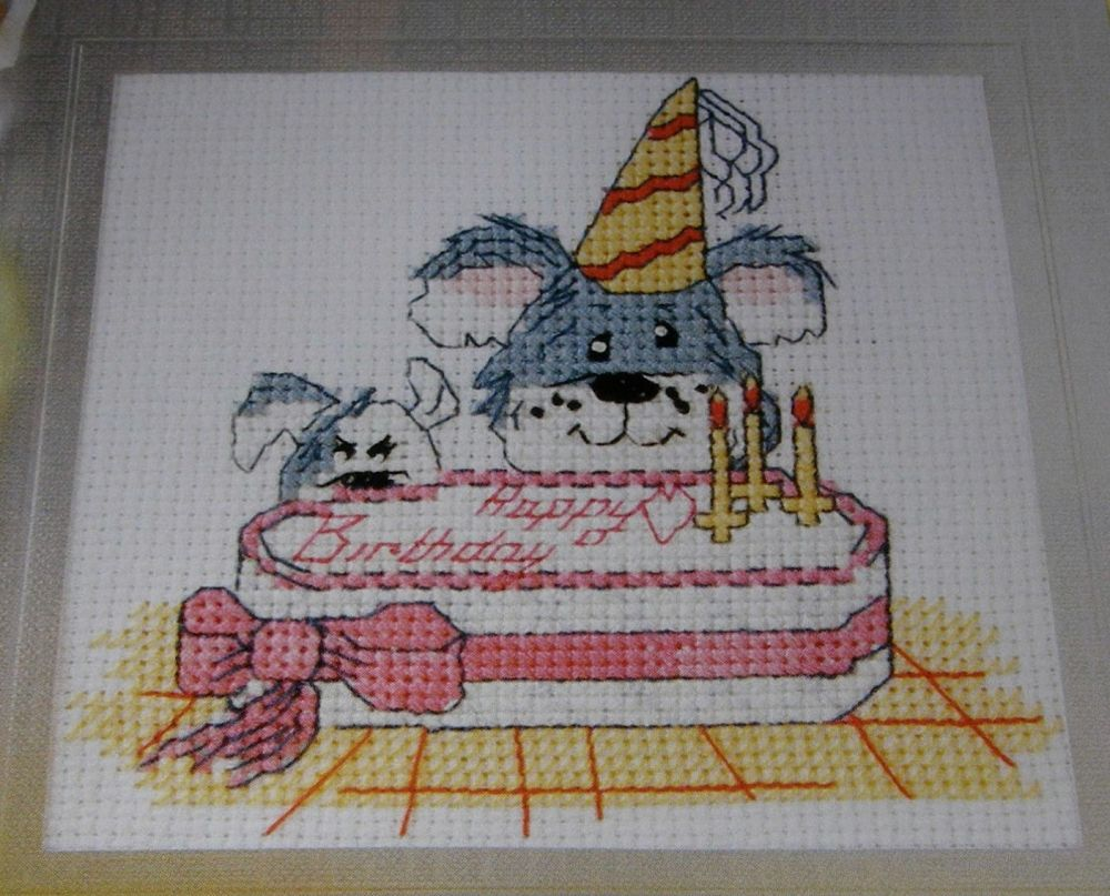 Tiny, Trouble & Ted Birthday Card ~ Cross Stitch Chart