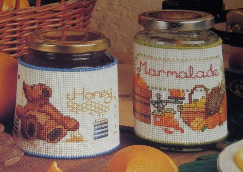 Honey & Marmalade Jar Labels ~ TWO Cross Stitch Charts