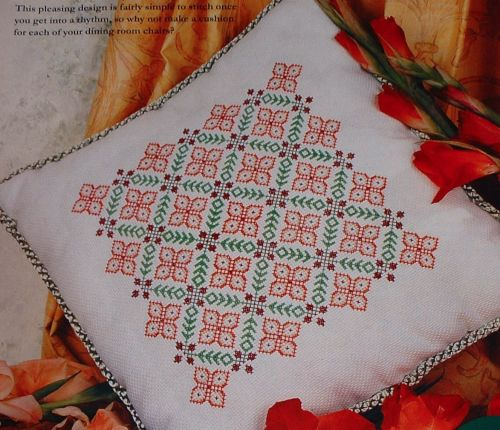 Autumn Leaves & Berries Trellis Cushion ~ Cross Stitch Chart
