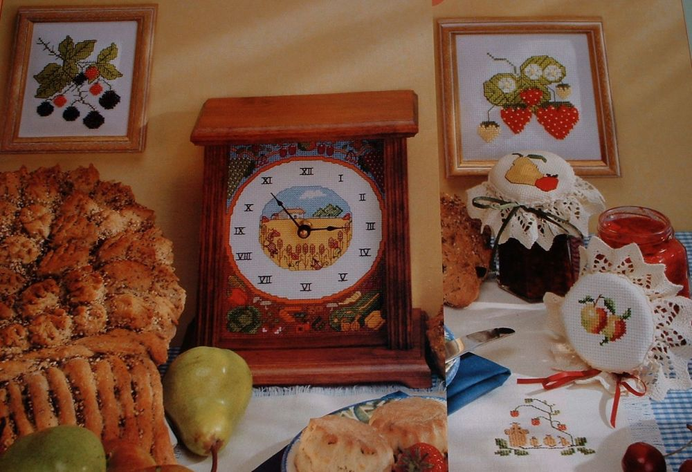Harvest Fruits Clock Jam Jar Laceys Pictures ~ SIX Cross Stitch Charts