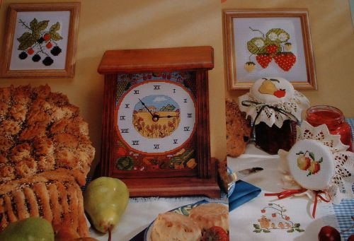 Harvest Fruits Clock Jam Jar Laceys Pictures ~ SIX Cross Stitch Charts