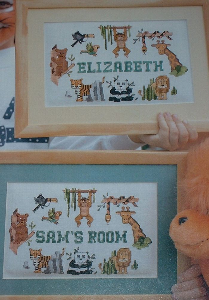 Jungle Animal Name Plate ~ Cross Stitch Chart