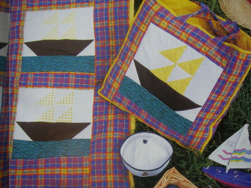 Boats on the Sea Patchwork Picnic Quilt ~ Sewing Pattern