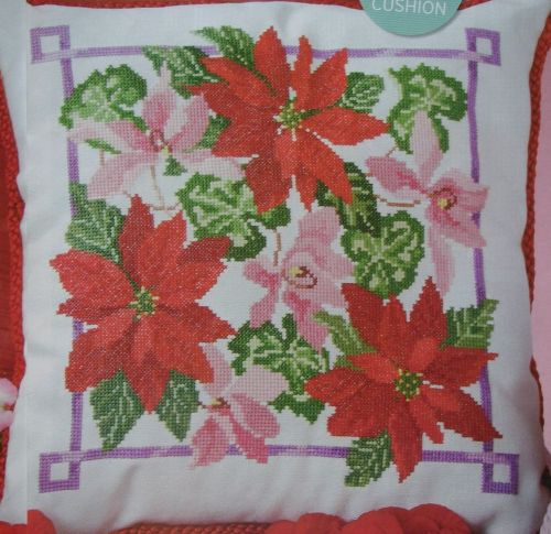 Poinsettia Winter Flower Cushion ~ Cross Stitch Chart