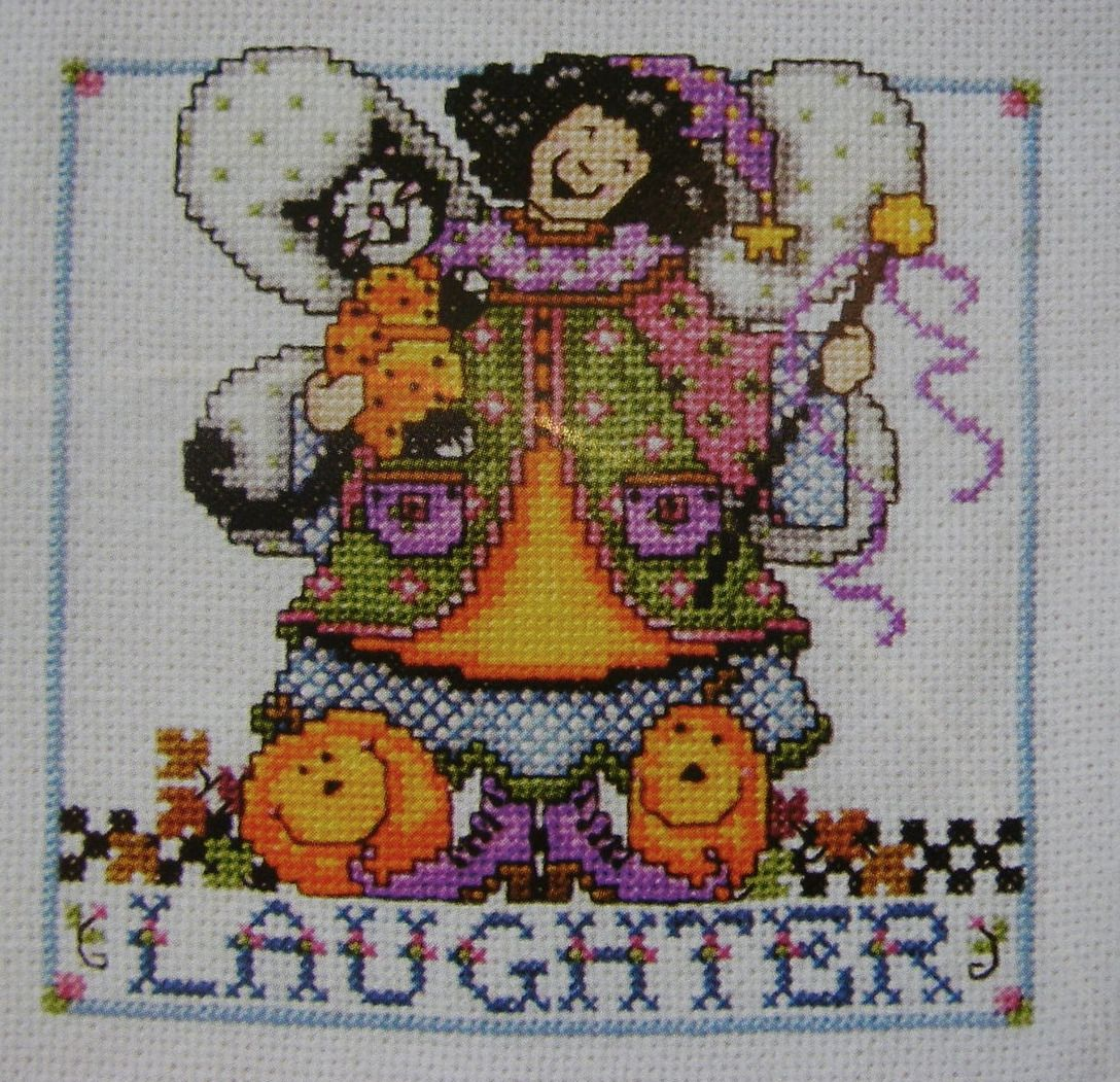 Laughter, Home, Joy Angels ~ Three Cross Stitch Charts
