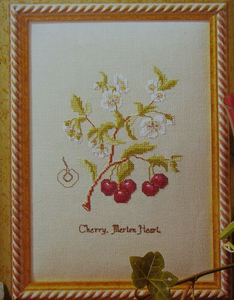 Cherries & Cherry Blossom: Merton Heart ~ Cross Stitch Chart