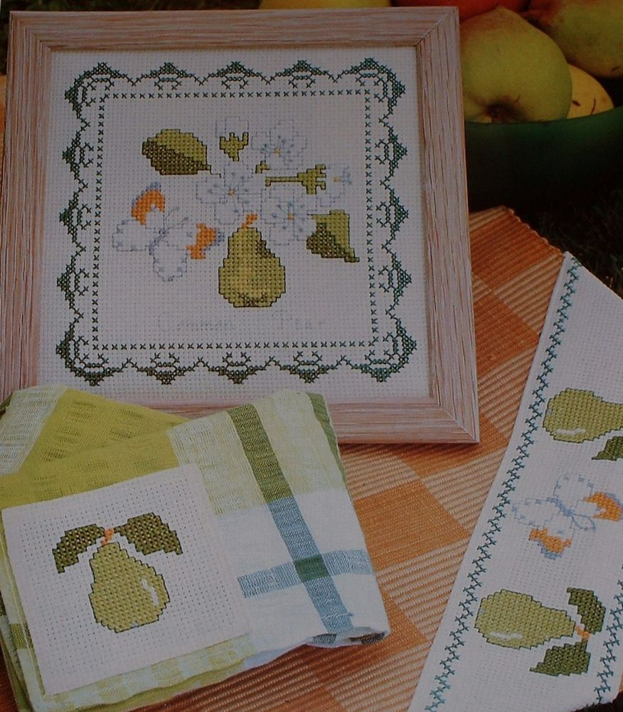 Common Pear & Butterfly Picture & Border ~ Two Cross Stitch Charts