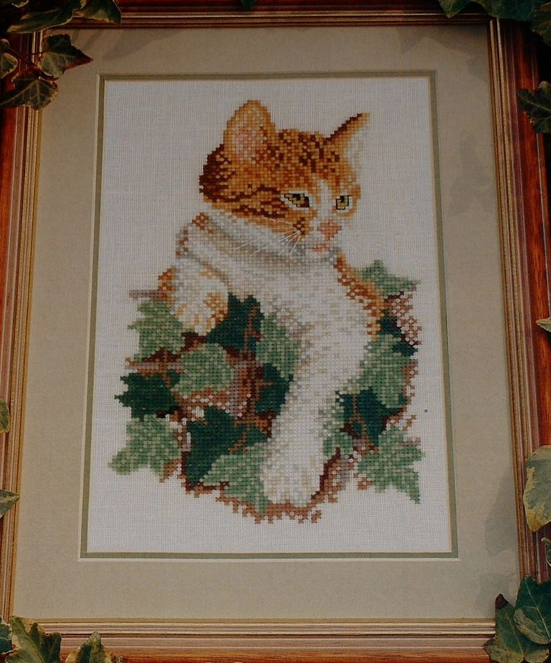 Ginger & White Cat on Ivy Covered Wall ~ Cross Stitch Chart