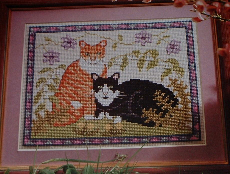 Ginger & White Cat & Black & White Cat ~ Cross Stitch Chart