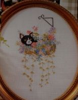 Black & White Cat in Hanging Basket ~ Cross Stitch Chart
