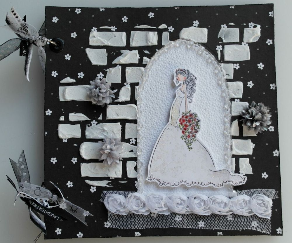 *bride in arched doorway* OOAK Handmade Wedding Scrapbook Photo Album