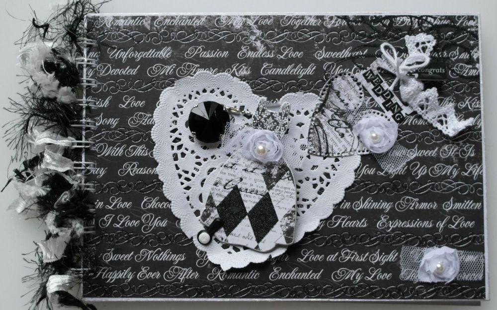 *wedding congrats* OOAK Handmade Black & White Wedding Scrapbook Photo Albu