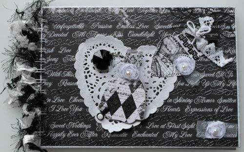 *wedding congrats* OOAK Handmade Black & White Wedding Scrapbook Photo Albu