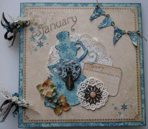 *January treasures* OOAK Handmade Vintage Scrapbook Photo Album Journal